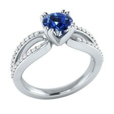 0.80 ct Natural Blue Sapphire & Authentic Diamond White Gold Engagement Ring