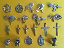 Vintage sterling silver charms FAITH HOPE CHARITY CRUCIFIX MEDAL RELIGIOUS ITEMS
