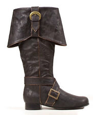 Mens Knee High Pirate Boots Black Halloween Accessory