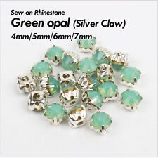 Green Opal SS16/SS22/SS28/SS33 Sew on Rhinestone Silver claw use for DIY accesso