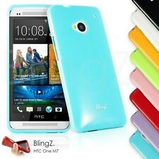 HTC One M7 Soft Gel cover TPU Rubber Silicone Colorful case and Screen Protector