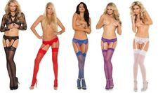 Elegant Moments Sexy Lace Suspender Belt Set Stockings Included 8-20