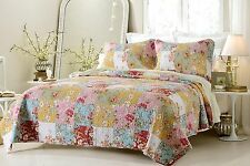 Luxury Prairie and Floral Quilted Coverlet Set AND Pilow Shams - ALL SIZES