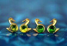 14k Yellow Gold Duck Birthstone Stud Earrings Screw Back