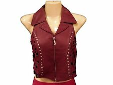 Ladies' Solid Leather Burgundy/Dark Red Vest Stud Trim Crosshatch Back-Sexy Look