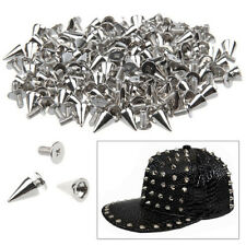 100 PCS SPIKES CONE SCREWBACK NICKEL BULLET PUNK RIVET LEATHER BAG CRAFT DIY