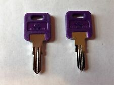 2 FIC RV Code Cut PURPLE Plastic Head  Keys CF301 - CF351, CH75 Travel Trailers