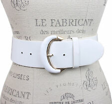 Ladies Oval Gold Buckle Wide Patent Contour Leather Belt