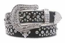 Snap On Western Cowgirl Alligator Rhinestone Fleur De Lis Studded Leather Belt
