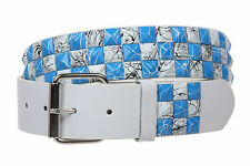 """Snap On 1 1/2"""" Blue & White Checkerboard Punk Rock Studded Belt"""