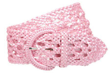 """2 1/2"""" (65 mm) Wide Perforated Braided Synthetic Faux Leather Woven Round Belt"""