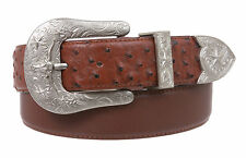 Western Ostrich Print  Stitching-Edged Leather Belt
