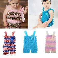 Toddler Baby Girls Lace Ruffle One Piece Rompers Casual Shorts Strap Romper 0-3Y
