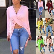 Fashion Sexy Womens Ladies Casual Long Sleeve V-neck Loose Blouse Tops T Shirt