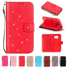 Diamond Butterfly PU Leather Flip Strap Card Wallet Case Cover For Samsung LG