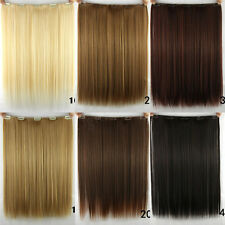 """Women Long Straight Clip in Synthetic Human Hair Extensions 5 Clip 46cm 18"""" 14aw"""