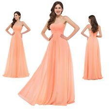 Chiffon Long Strapless Cocktail Party Evening Prom Gown Dress Orange Bridesmaid