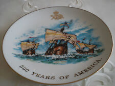 Christopher Columbus Ships *500 YEARS of AMERICA*Painted Porcelain Plate~Vintage