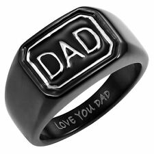New Mens All Black Stainless Steel DAD Ring Engraved Love You Dad