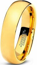 Tungsten Wedding Band Ring 5mm for Men Women Comfort Fit 18K Yellow Gold Plated