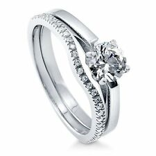 Sterling Silver 0.98 ct.tw Round Cubic Zirconia CZ Solitaire Engagement Wedding