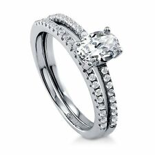 Sterling Silver 0.96 ct.tw Oval Cubic Zirconia CZ Solitaire Engagement Wedding