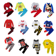 2PCS Kid Baby Boy Spiderman Captain America Costume Outfit Homewear T-shirt+Pant