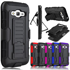 Hybrid Rubber Armor + Belt Clip Holster Case Cover for Samsung Galaxy Core Prime