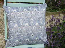 Liberty Fabric Cushion Covers  'Hera' Peacock Feather Design Navy and Grey