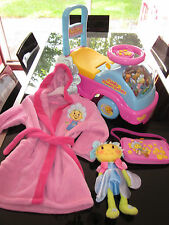 BUNDLE FIFI FLOWERTOTS/ RIDE ON/ DRESSING GOWN/ DOLL & BAG GOOD CONDITION