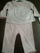 Absorba 2 piece baby girl overall vest set sz 0-3M 3-6M 6-9M NWT