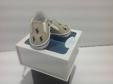 Ralph Lauren Layette Bal Harbour Crib Shoe khaki/navy Canvas NIB Size  2, 4