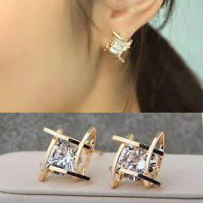 Elegant Fashion Silver Plated Womens Crystal Rhinestone Square Ear Stud Earring