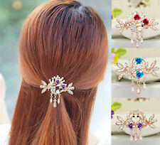 Women Jewelry New Crystal Rhinestone Tops Hair Barrette Hairpin NEW Clip Flower