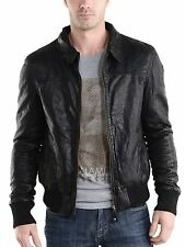 Mens Leather Jacket Black Slim fit Biker Motorcycle Genuine Leather Jacket MJ514