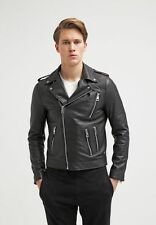 Mens Leather Jacket Black Slim fit Biker Motorcycle Genuine Leather Jacket MJ699