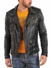 Mens Leather Jacket Black Slim fit Biker Motorcycle Genuine Leather Jacket MJ510