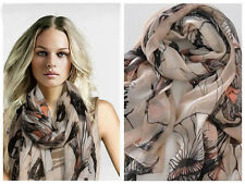 Womens Begonia Flower Warm Soft Neck Scarf Shawl Wrap Stole Long Chiffon New   X