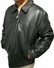 Mens Perry Ellis Genuine Leather James Dean Jacket Black Lamb Skin Car Coat S-2X