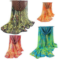 Women Peacock Chiffon Scarf Long Soft Shawl Silk Wrap Neck Warm Stole Stylish  X