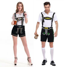 Bavarian Women Men Oktoberfest Couple Lederhosen German Beer Costume Fancy Dress