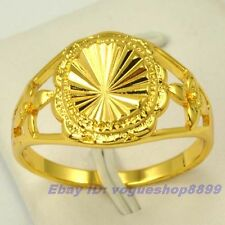 Size 8,9 RING,REAL SHINING 18K YELLOW GOLD GP EMPAISTIC LIGHT SOLID FILL GEP