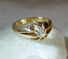 Edwardian 18ct Yellow Gold Diamond Solitaire Ring . Chester 1908 .By J Adelman.