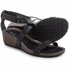 Teva Cabrillo Strap Wedge 2 Sandals Black and Tan Leather Women NEW