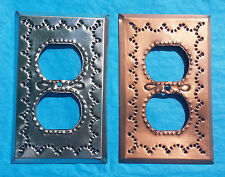 Mexican Tin Double Outlet Plug Plate Cover Chrome Copper Shiny Metal