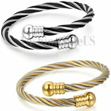 Gold and Black Stainless Steel Adjustable Twisted Cable Wristband Bracelet Cuff
