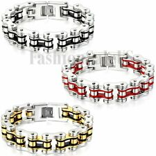 Mens Cool Heavy Wide Stainless Steel Motorcycle Bike Chain Link Cuff Bracelet