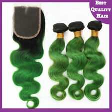 Ombre Green Remy Human Hair Weave and Lace Top Closure Hair Extensions Body Wave