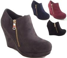 LADIES HIGH HEEL WEDGE PLATFORM ZIP ANKLE BOOTS WOMENS SHOES SIZE 3-8