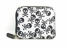 Skull Print Fabric Over Synthetic Leather Wallet Punk Goth Rockabilly Bikers